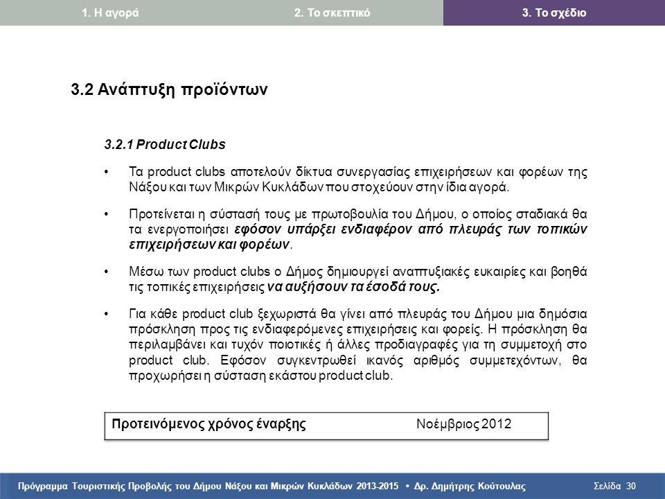 Πρόγραμμα Τουριστικής Προβολής του Δήμου Νάξου και Μικρών Κυκλάδων 2013-2015 • Δρ. Δημήτρης ΚούτουλαςΣελίδα30 3.2 Ανάπτυξη προϊόντων 3.2.1 Product Clu