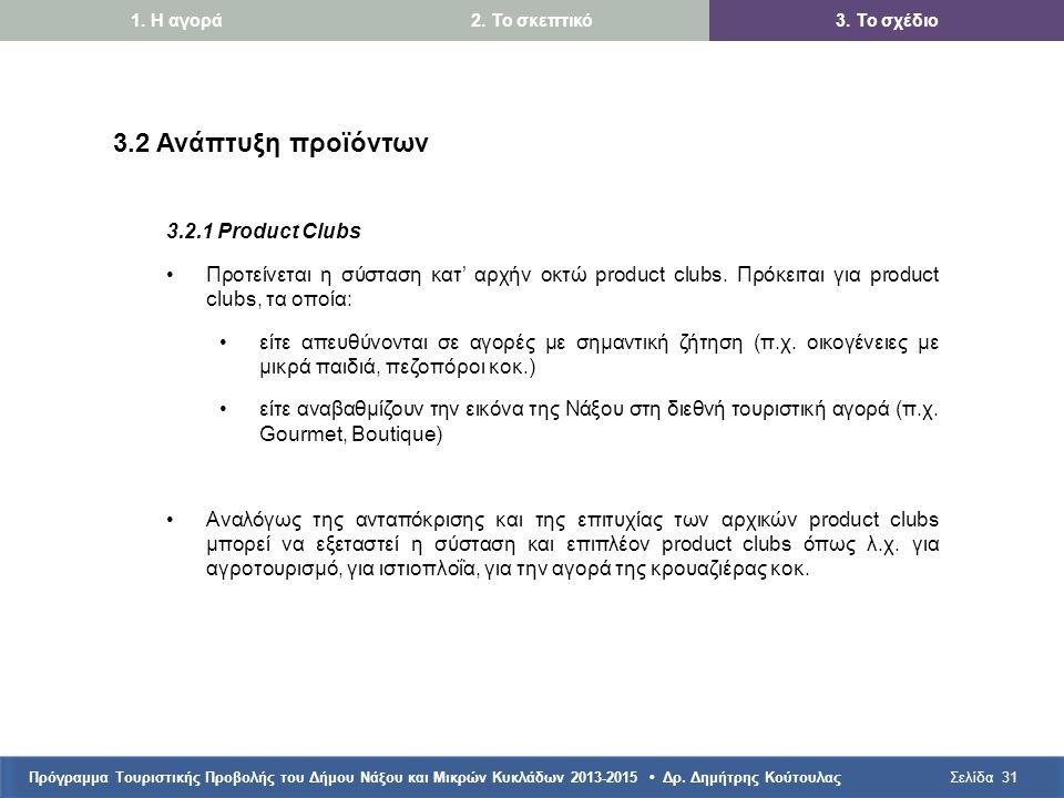 Πρόγραμμα Τουριστικής Προβολής του Δήμου Νάξου και Μικρών Κυκλάδων 2013-2015 • Δρ. Δημήτρης ΚούτουλαςΣελίδα31 3.2 Ανάπτυξη προϊόντων 3.2.1 Product Clu