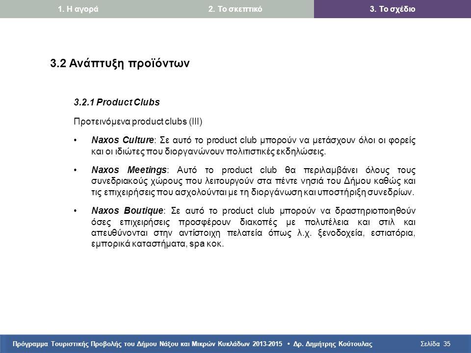 Πρόγραμμα Τουριστικής Προβολής του Δήμου Νάξου και Μικρών Κυκλάδων 2013-2015 • Δρ. Δημήτρης ΚούτουλαςΣελίδα35 3.2 Ανάπτυξη προϊόντων 3.2.1 Product Clu