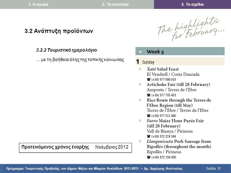 Πρόγραμμα Τουριστικής Προβολής του Δήμου Νάξου και Μικρών Κυκλάδων 2013-2015 • Δρ. Δημήτρης ΚούτουλαςΣελίδα37 3.2 Ανάπτυξη προϊόντων 3.2.2 Τουριστικό