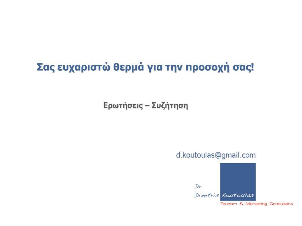 Σας ευχαριστώ θερμά για την προσοχή σας! Ερωτήσεις – Συζήτηση d.koutoulas@gmail.com