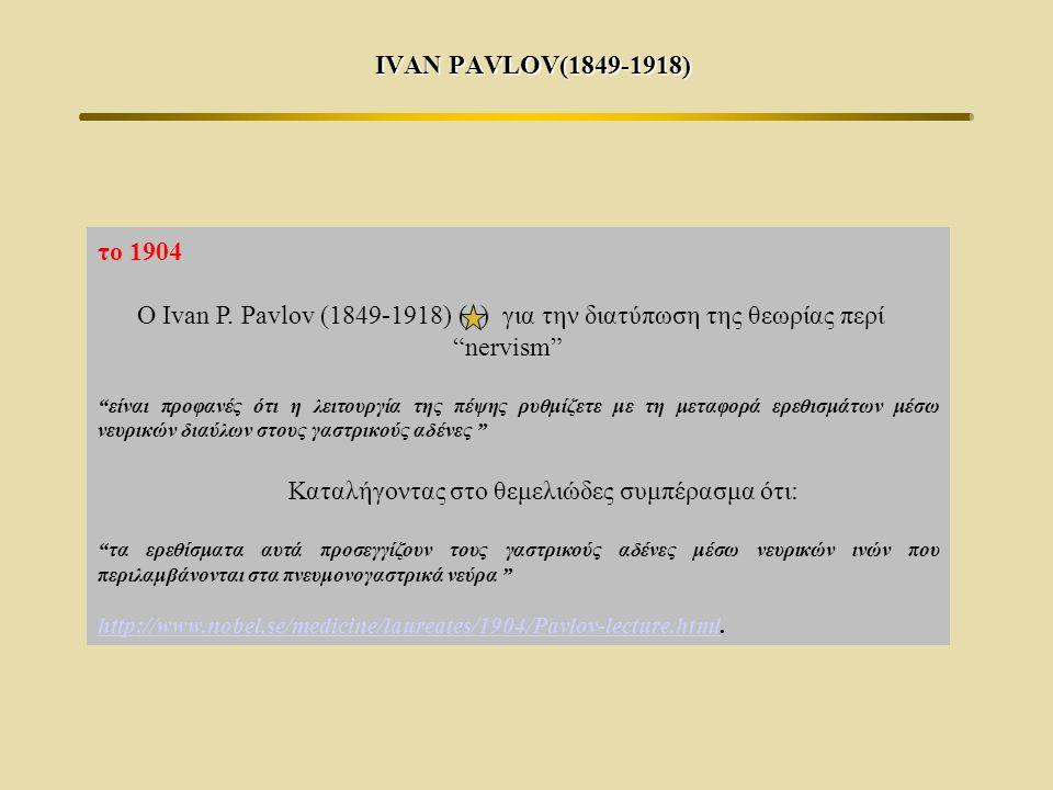 "IVAN PAVLOV(1849-1918) το 1904 Ο Ivan P. Pavlov (1849-1918) ( ) για την διατύπωση της θεωρίας περί ""nervism"" ""είναι προφανές ότι η λειτουργία της πέψη"