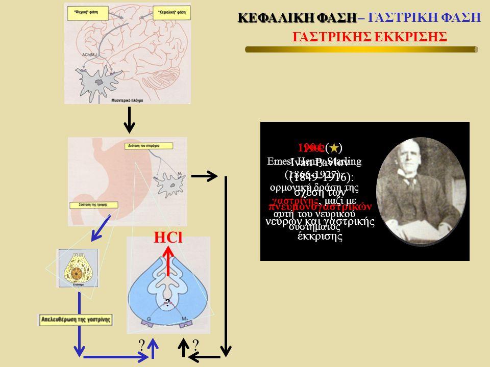 1904 ( ) Ivan Pavlov (1849-1916): σχέση των πνευμονογαστρικών νεύρων και γαστρικής έκκρισης ?? 1902 Emest Henry Starling (1866-1927): ορμονική δράση τ