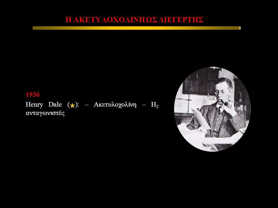 1936 Henry Dale ( ): – Ακετυλοχολίνη – Η 2 ανταγωνιστές Η ΑΚΕΤΥΛΟΧΟΛΙΝΗ ΩΣ ΔΙΕΓΕΡΤΗΣ Η ΑΚΕΤΥΛΟΧΟΛΙΝΗ ΩΣ ΔΙΕΓΕΡΤΗΣ