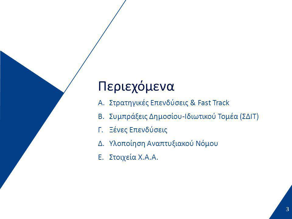 3 Περιεχόμενα A.Στρατηγικές Επενδύσεις & Fast Track B.Συμπράξεις Δημοσίου-Ιδιωτικού Τομέα (ΣΔΙΤ) Γ.Ξένες Επενδύσεις Δ.Υλοποίηση Αναπτυξιακού Νόμου Ε.Στοιχεία Χ.Α.Α.