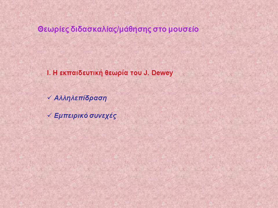 Θεωρίες διδασκαλίας/μάθησης στο μουσείο Ι. Η εκπαιδευτική θεωρία του J. Dewey  Αλληλεπίδραση  Εμπειρικό συνεχές