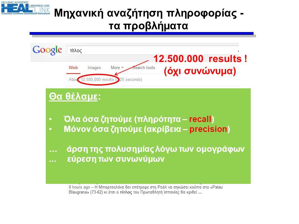 Μηχανική αναζήτηση πληροφορίας - τα προβλήματα 12.500.000 results ! (όχι συνώνυμα) Θα θέλαμε: •Όλα όσα ζητούμε (πληρότητα – recall) •Μόνον όσα ζητούμε