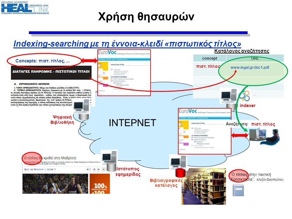 """Χρήση θησαυρών ΙΝΤΕΡΝΕΤ Ιστότοπος εφημερίδας Ψηφιακή Βιβλιοθήκη Βιβλιογραφικός κατάλογος Κατάλογος αναζήτησης conceptURL πιστ. τίτλος … """"Ο τίτλος στη"""