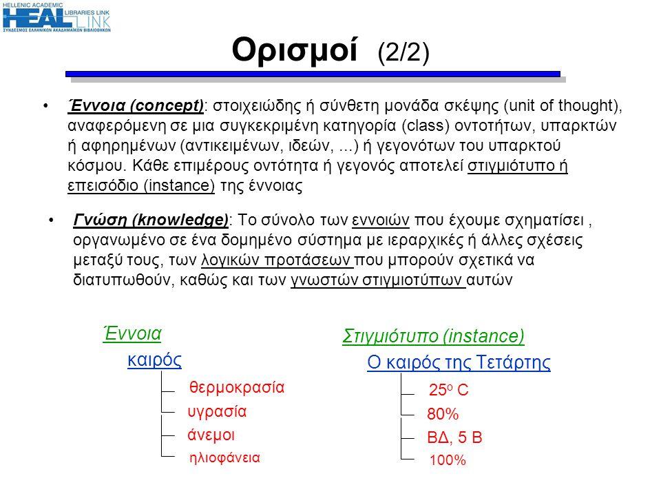 Ορισμοί (2/2) •Έννοια (concept): στοιχειώδης ή σύνθετη μονάδα σκέψης (unit of thought), αναφερόμενη σε μια συγκεκριμένη κατηγορία (class) οντοτήτων, υ