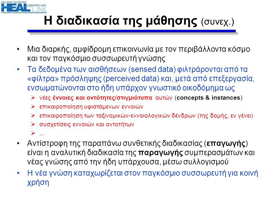 Δεδομένα – πληροφορία – γνώση •Κρίσιμη στη μαθησιακή διαδικασία είναι η διάκριση των όρων (και ο σταδιακός μετασχηματισμός από τον πρώτο στον τελευταίο): δεδομένα  πληροφορία  γνώση (data  information  knowledge) Παράδειγμα: Δεδομένα Πληροφορία Ο καιρός της Τετάρτης:... Γνώση Ο συνδυασμός υψηλών πιέσεων στην περιοχή των Βαλκανίων με τις χαμηλές πιέσεις στη Μεσόγειο...