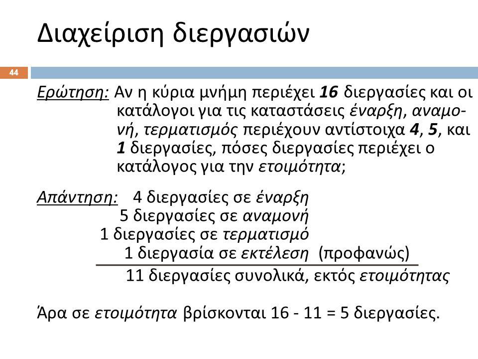 Διαχείριση διεργασιών 44 Ερώτηση : Αν η κύρια μνήμη περιέχει 16 διεργασίες και οι κατάλογοι για τις καταστάσεις έναρξη, αναμο - νή, τερματισμός περιέχ