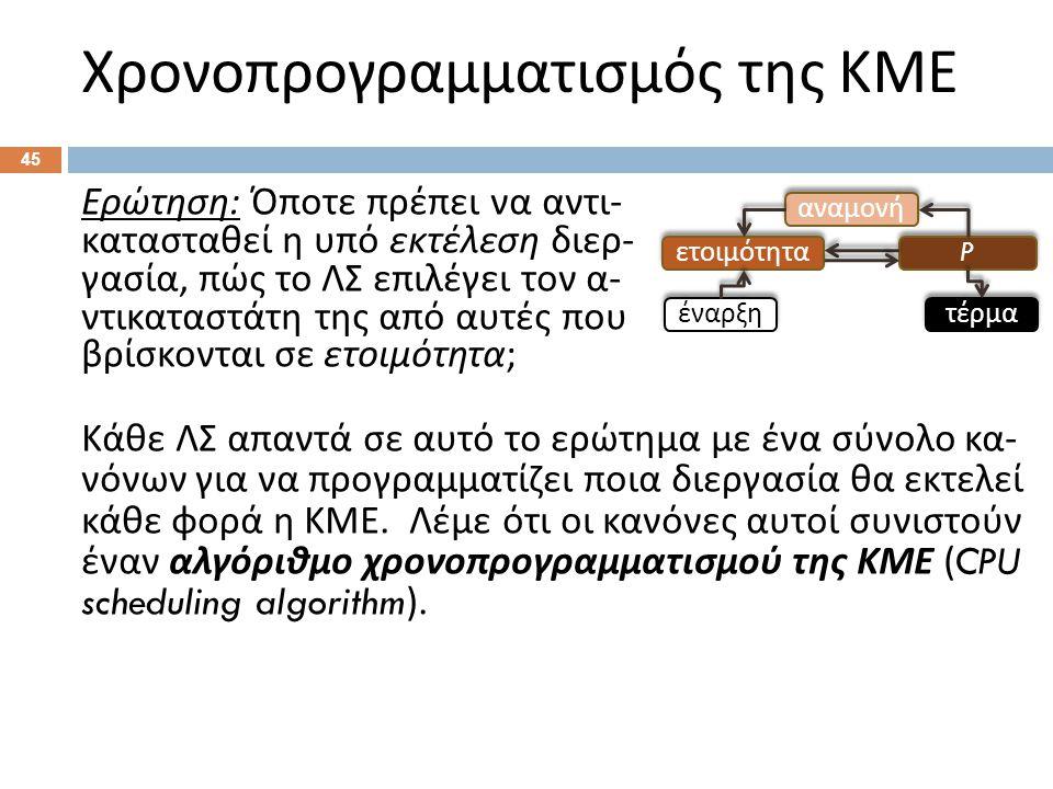 Χρονοπρογραμματισμός της ΚΜΕ 45 Ερώτηση : Όποτε πρέπει να αντι - κατασταθεί η υπό εκτέλεση διερ - γασία, πώς το ΛΣ επιλέγει τον α - ντικαταστάτη της α