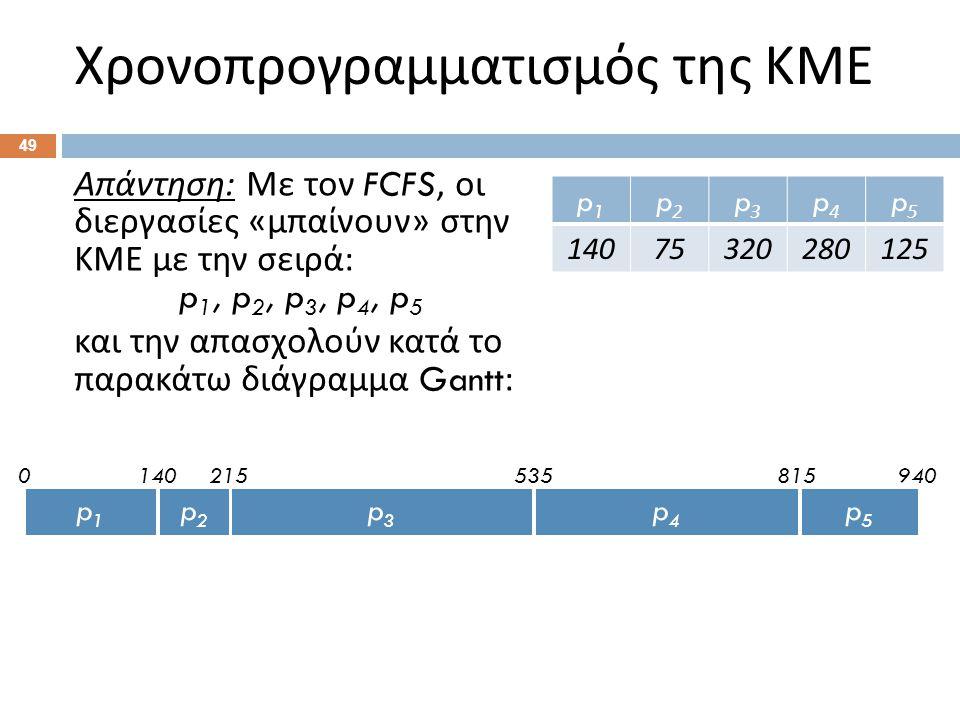 49 Απάντηση : Με τον FCFS, οι διεργασίες « μπαίνουν » στην ΚΜΕ με την σειρά : p 1, p 2, p 3, p 4, p 5 και την απασχολούν κατά το παρακάτω διάγραμμα Ga