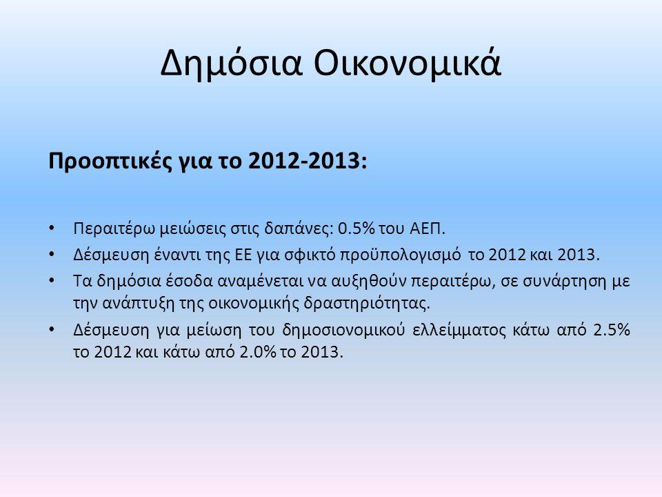 Δημόσια Οικονομικά Προοπτικές για το 2012-2013: • Περαιτέρω μειώσεις στις δαπάνες: 0.5% του ΑΕΠ. • Δέσμευση έναντι της ΕΕ για σφικτό προϋπολογισμό το