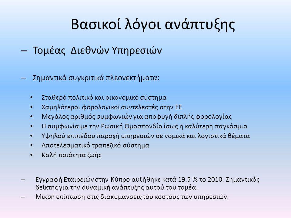 Δημόσια Οικονομικά • Δημοσιονομικό έλλειμμα 2010: 5.3% • Στόχος ΕΕ: 6% • Προβλέψεις διαφόρων ξένων και ντόπιων οργανισμών: 7% - 8% ---------------------- • Συγκράτηση λειτουργικών δαπανών • Μείωση προσωπικού δημόσιας υπηρεσίας