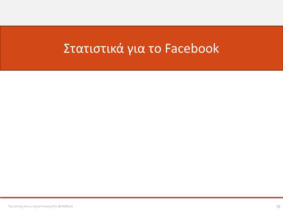 Στατιστικά για το Facebook • Facebook - Φατσοβιβλίο  – Το πιο γνωστό κοινωνικό δίκτυο • 5/4/2011 – Περισσότεροι από 629 εκατομμύρια ενεργοί χρήστες (1 σε κάθε 13 του πλανήτη) – 50% μπαίνουν στο σύστημα τουλάχιστον μια φορά την ημέρα Τεχνολογίες Κοινωνικής Δικτύωσης στην Εκπαίδευση