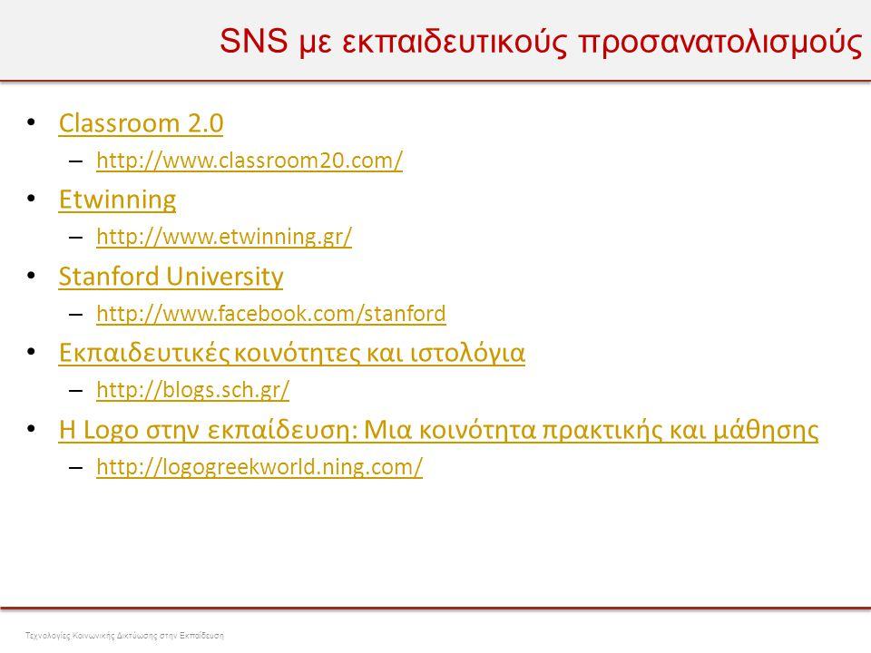 Πλατφόρμες SNS 21 Τεχνολογίες Κοινωνικής Δικτύωσης στην Εκπαίδευση