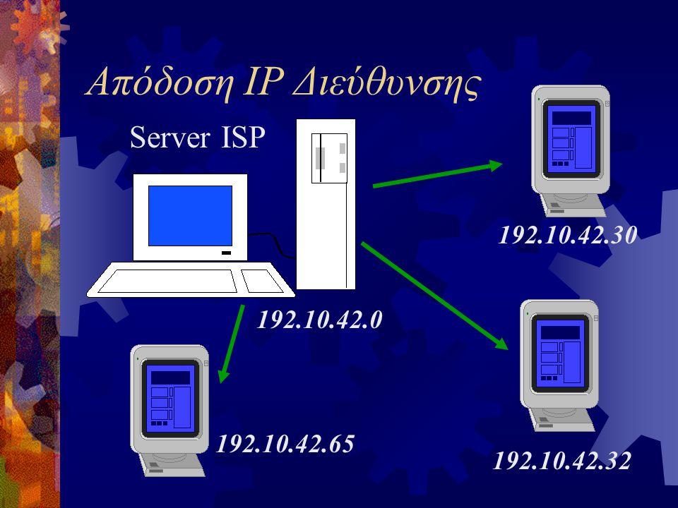 Απόδοση IP Διεύθυνσης Server ISP 192.10.42.30 192.10.42.32 192.10.42.65 192.10.42.0
