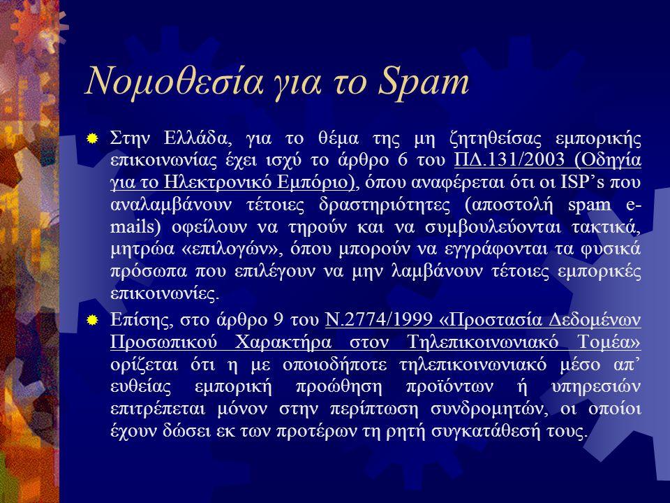 Νομοθεσία για το Spam  Στην Ελλάδα, για το θέμα της μη ζητηθείσας εμπορικής επικοινωνίας έχει ισχύ το άρθρο 6 του ΠΔ.131/2003 (Οδηγία για το Ηλεκτρονικό Εμπόριο), όπου αναφέρεται ότι οι ISP's που αναλαμβάνουν τέτοιες δραστηριότητες (αποστολή spam e- mails) οφείλουν να τηρούν και να συμβουλεύονται τακτικά, μητρώα «επιλογών», όπου μπορούν να εγγράφονται τα φυσικά πρόσωπα που επιλέγουν να μην λαμβάνουν τέτοιες εμπορικές επικοινωνίες.