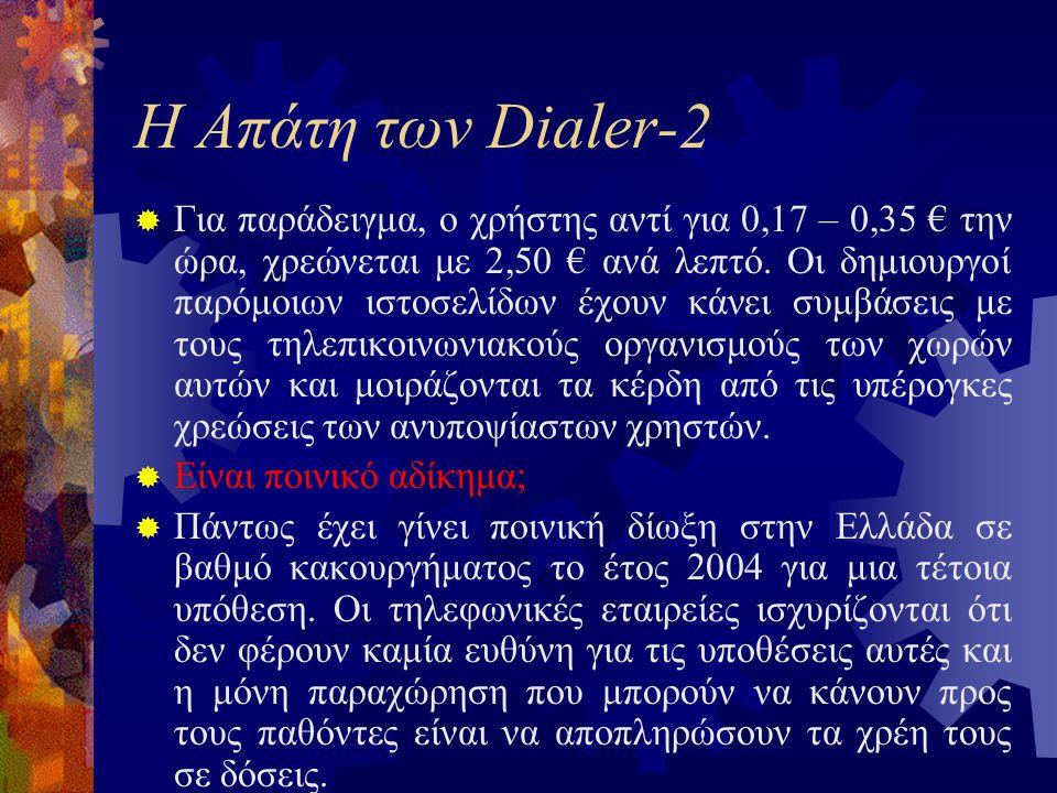 Η Απάτη των Dialer-2  Για παράδειγμα, ο χρήστης αντί για 0,17 – 0,35 € την ώρα, χρεώνεται με 2,50 € ανά λεπτό.