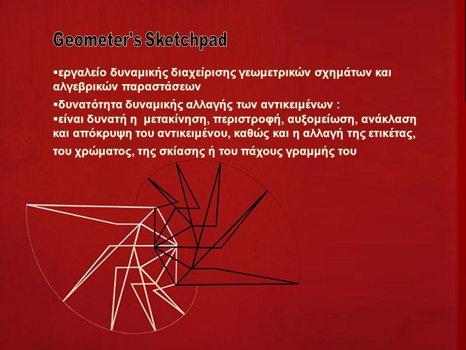  εργαλείο δυναμικής διαχείρισης γεωμετρικών σχημάτων και αλγεβρικών παραστάσεων  δυνατότητα δυναμικής αλλαγής των αντικειμένων :  είναι δυνατή η μετακίνηση, περιστροφή, αυξομείωση, ανάκλαση και απόκρυψη του αντικειμένου, καθώς και η αλλαγή της ετικέτας, του χρώματος, της σκίασης ή του πάχους γραμμής του