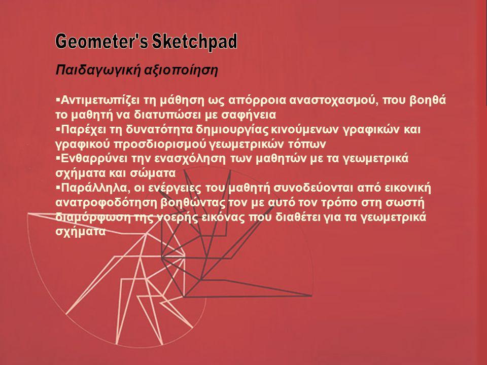 Παιδαγωγική αξιοποίηση  Αντιμετωπίζει τη μάθηση ως απόρροια αναστοχασµού, που βοηθά το μαθητή να διατυπώσει µε σαφήνεια  Παρέχει τη δυνατότητα δημιουργίας κινούμενων γραφικών και γραφικού προσδιορισμού γεωμετρικών τόπων  Ενθαρρύνει την ενασχόληση των μαθητών με τα γεωμετρικά σχήματα και σώματα  Παράλληλα, οι ενέργειες του μαθητή συνοδεύονται από εικονική ανατροφοδότηση βοηθώντας τον με αυτό τον τρόπο στη σωστή διαμόρφωση της νοερής εικόνας που διαθέτει για τα γεωμετρικά σχήματα