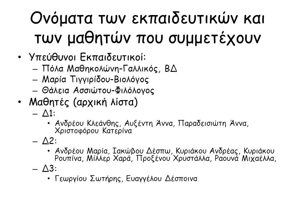 Ονόματα των εκπαιδευτικών και των μαθητών που συμμετέχουν • Υπεύθυνοι Εκπαιδευτικοί: – Πόλα Μαθηκολώνη-Γαλλικός, ΒΔ – Μαρία Τιγγιρίδου-Βιολόγος – Θάλε
