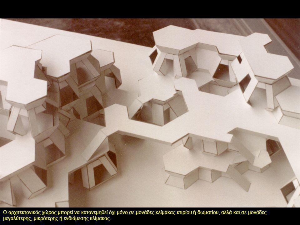 Ο αρχιτεκτονικός χώρος μπορεί να κατανεμηθεί όχι μόνο σε μονάδες κλίμακας κτιρίου ή δωματίου, αλλά και σε μονάδες μεγαλύτερης, μικρότερης ή ενδιάμεσης