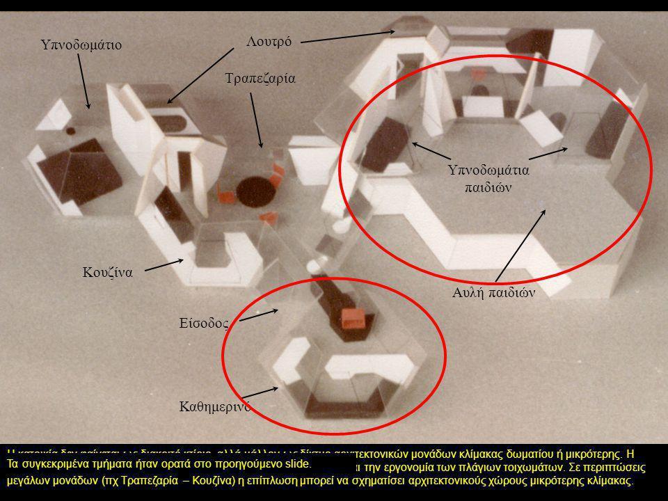 Σε αυτό το μοντέλο τα εξωτερικά τοιχώματα εμφανίζονται διαφανή ώστε να αποκαλύπτεται ο εσωτερικός χώρος. Η περιμετρική τοποθέτηση της επίπλωσης μπορεί