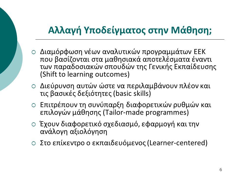 6 Αλλαγή Υποδείγματος στην Μάθηση;  Διαμόρφωση νέων αναλυτικών προγραμμάτων ΕΕΚ που βασίζονται στα μαθησιακά αποτελέσματα έναντι των παραδοσιακών σπο