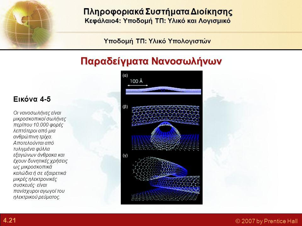 4.21 © 2007 by Prentice Hall Παραδείγματα Νανοσωλήνων Υποδομή ΤΠ: Υλικό Υπολογιστών Πληροφοριακά Συστήματα Διοίκησης Κεφάλαιο4: Υποδομή ΤΠ: Υλικό και
