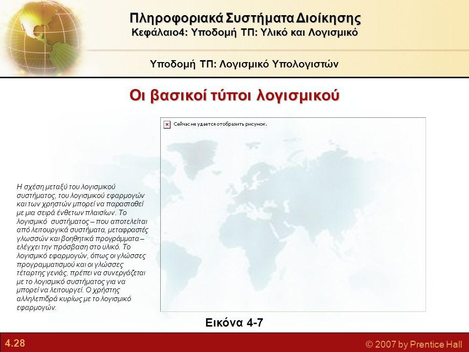 4.28 © 2007 by Prentice Hall Οι βασικοί τύποι λογισμικού Υποδομή ΤΠ: Λογισμικό Υπολογιστών Πληροφοριακά Συστήματα Διοίκησης Κεφάλαιο4: Υποδομή ΤΠ: Υλι