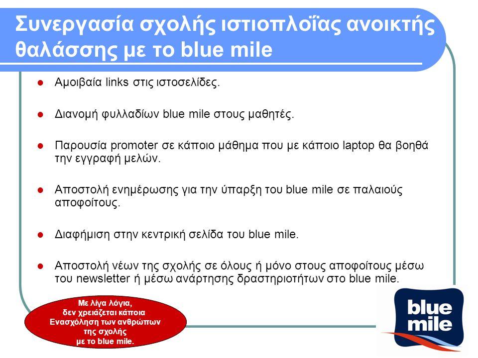 Συνεργασία σχολής ιστιοπλοΐας ανοικτής θαλάσσης με το blue mile  Αμοιβαία links στις ιστοσελίδες.