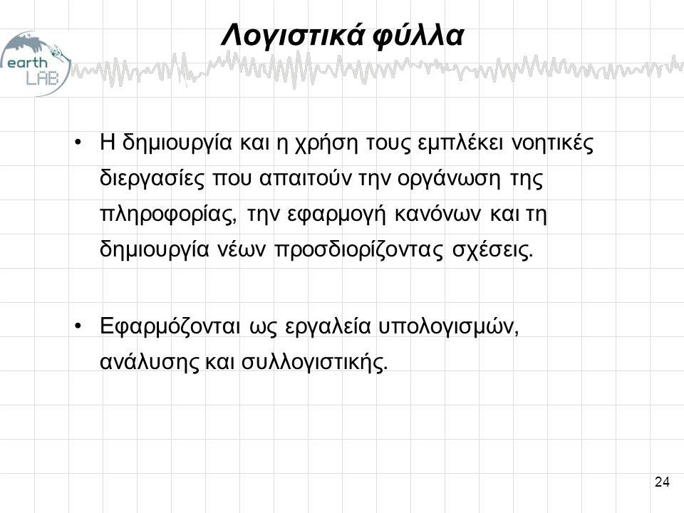 24 Λογιστικά φύλλα •Η δημιουργία και η χρήση τους εμπλέκει νοητικές διεργασίες που απαιτούν την οργάνωση της πληροφορίας, την εφαρμογή κανόνων και τη δημιουργία νέων προσδιορίζοντας σχέσεις.