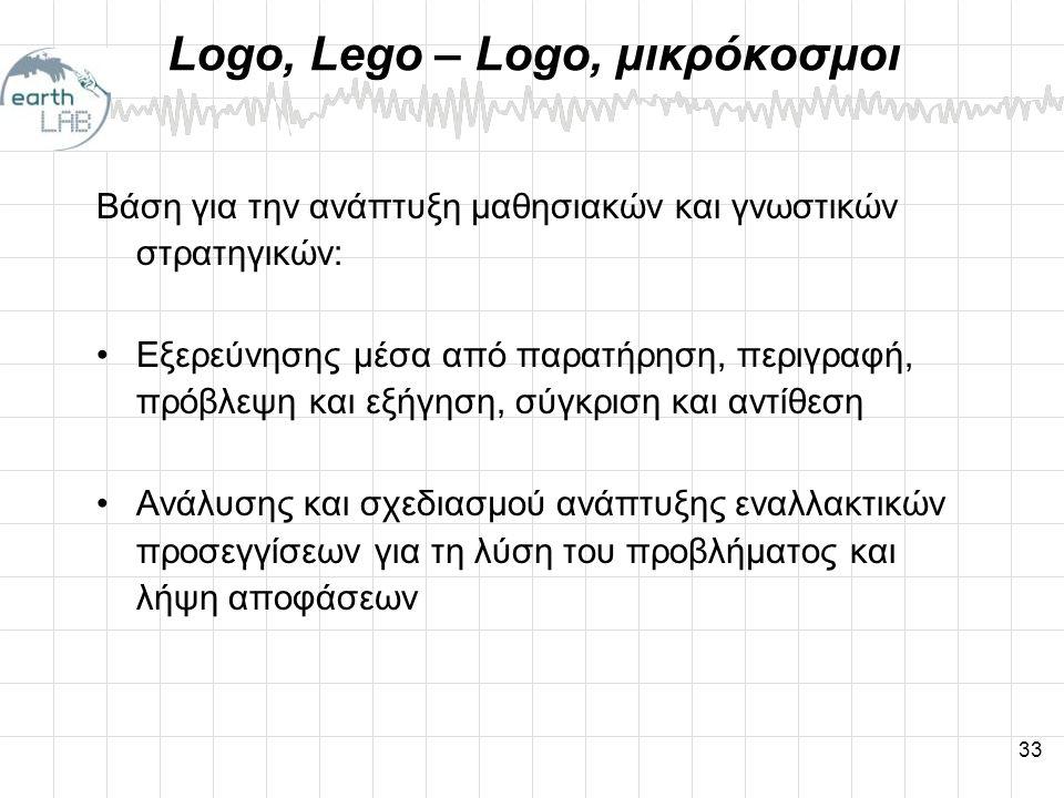 33 Logo, Lego – Logo, μικρόκοσμοι Βάση για την ανάπτυξη μαθησιακών και γνωστικών στρατηγικών: •Εξερεύνησης μέσα από παρατήρηση, περιγραφή, πρόβλεψη και εξήγηση, σύγκριση και αντίθεση •Ανάλυσης και σχεδιασμού ανάπτυξης εναλλακτικών προσεγγίσεων για τη λύση του προβλήματος και λήψη αποφάσεων