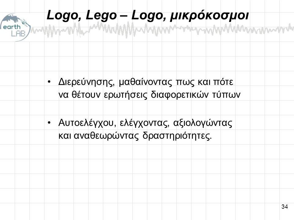 34 Logo, Lego – Logo, μικρόκοσμοι •Διερεύνησης, μαθαίνοντας πως και πότε να θέτουν ερωτήσεις διαφορετικών τύπων •Αυτοελέγχου, ελέγχοντας, αξιολογώντας και αναθεωρώντας δραστηριότητες.