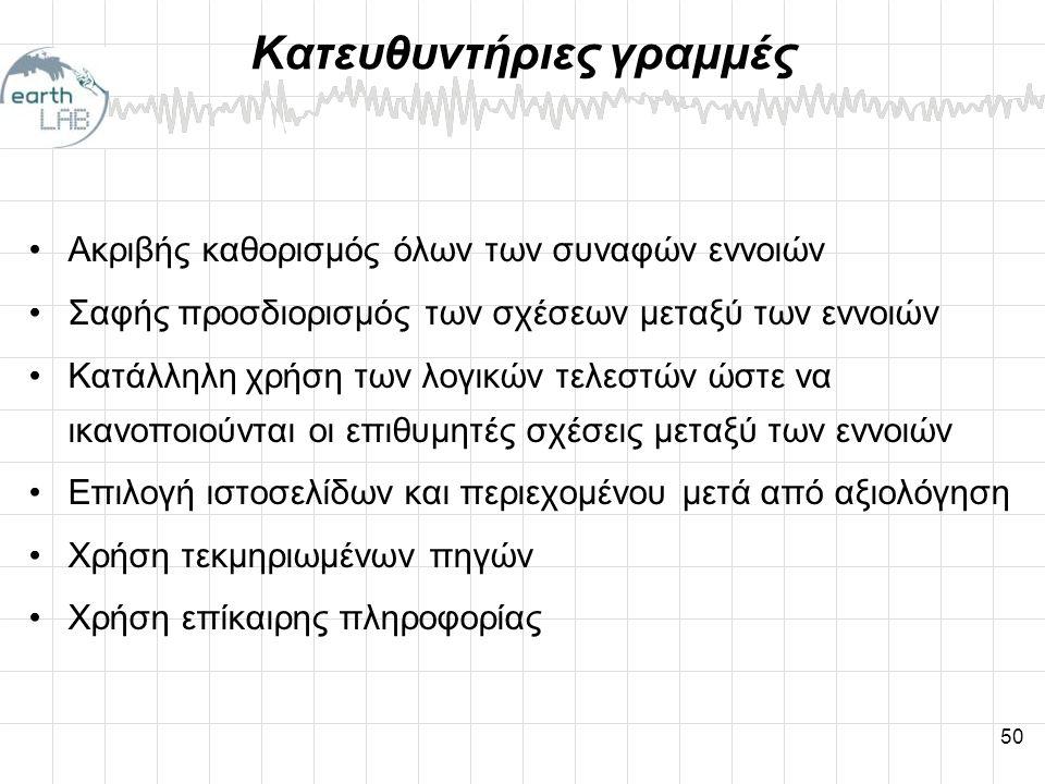 50 Κατευθυντήριες γραμμές •Ακριβής καθορισμός όλων των συναφών εννοιών •Σαφής προσδιορισμός των σχέσεων μεταξύ των εννοιών •Κατάλληλη χρήση των λογικών τελεστών ώστε να ικανοποιούνται οι επιθυμητές σχέσεις μεταξύ των εννοιών •Επιλογή ιστοσελίδων και περιεχομένου μετά από αξιολόγηση •Χρήση τεκμηριωμένων πηγών •Χρήση επίκαιρης πληροφορίας