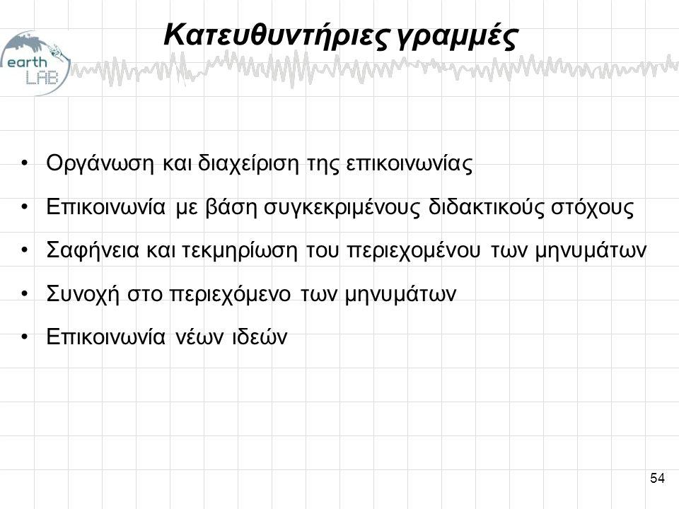54 Κατευθυντήριες γραμμές •Οργάνωση και διαχείριση της επικοινωνίας •Επικοινωνία με βάση συγκεκριμένους διδακτικούς στόχους •Σαφήνεια και τεκμηρίωση του περιεχομένου των μηνυμάτων •Συνοχή στο περιεχόμενο των μηνυμάτων •Επικοινωνία νέων ιδεών