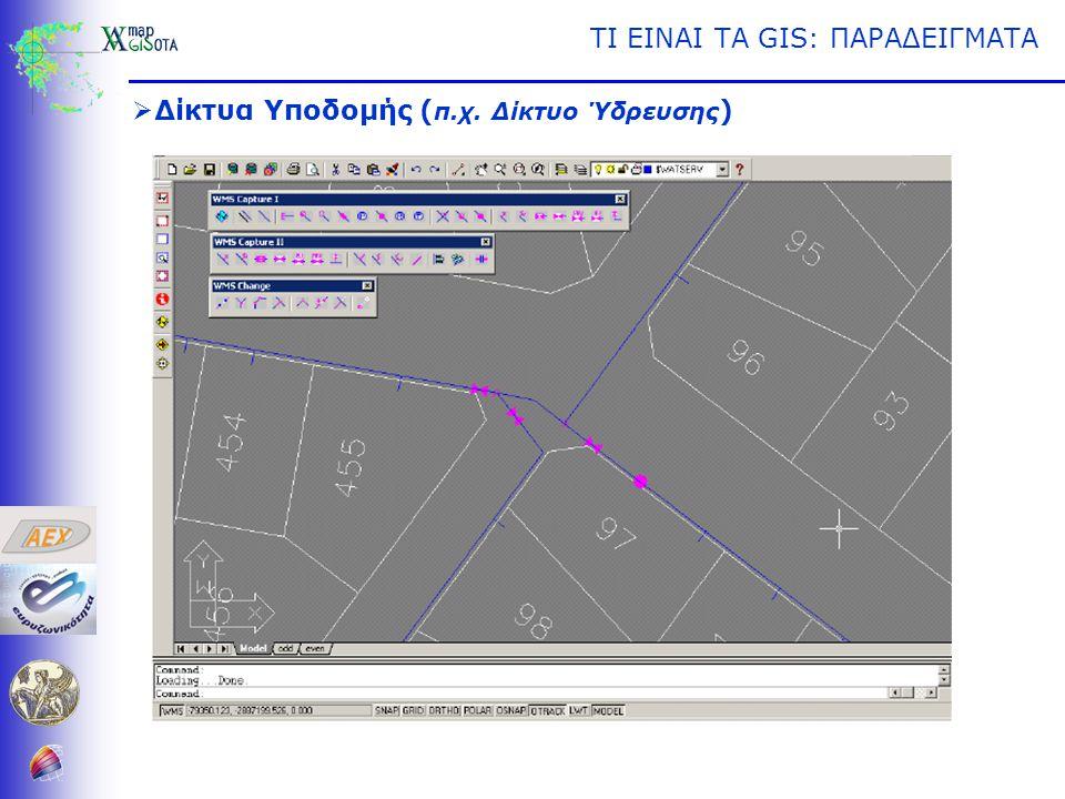 ΤΙ ΕΙΝΑΙ ΤΑ GIS: ΠΑΡΑΔΕΙΓΜΑΤΑ  Δίκτυα Υποδομής ( π.χ. Δίκτυο Ύδρευσης )