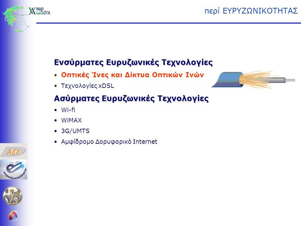 περί ΕΥΡΥΖΩΝΙΚΟΤΗΤΑΣ Ενσύρματες Ευρυζωνικές Τεχνολογίες • Οπτικές Ίνες και Δίκτυα Οπτικών Ινών • Τεχνολογίες xDSL Ασύρματες Ευρυζωνικές Τεχνολογίες • Wi-fi • WiMAX • 3G/UMTS • Αμφίδρομο Δορυφορικό Internet (Digital Subscriber Line) Asymmetric DSL (ADSL) High Data Rate DSL (HDSL) Very High Bit Rate DSL (VDSL) High Data Rate DSL (HDSL) Very High Bit Rate DSL (VDSL) ISDN DSL (IDSL)