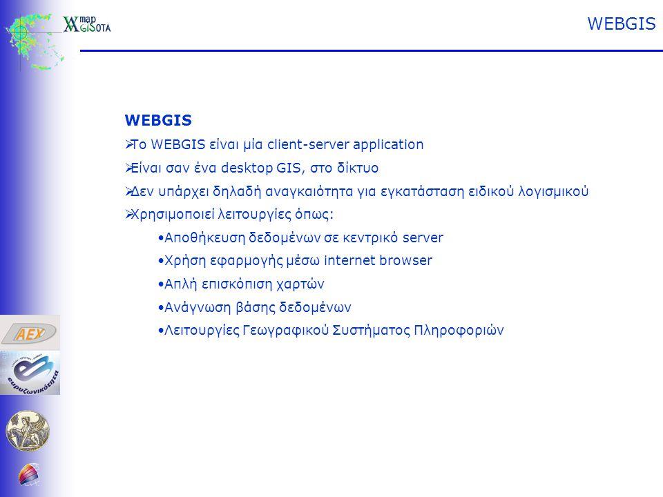 WEBGIS  Το WEBGIS είναι μία client-server application  Είναι σαν ένα desktop GIS, στο δίκτυο  Δεν υπάρχει δηλαδή αναγκαιότητα για εγκατάσταση ειδικού λογισμικού  Χρησιμοποιεί λειτουργίες όπως: •Αποθήκευση δεδομένων σε κεντρικό server •Χρήση εφαρμογής μέσω internet browser •Απλή επισκόπιση χαρτών •Ανάγνωση βάσης δεδομένων •Λειτουργίες Γεωγραφικού Συστήματος Πληροφοριών