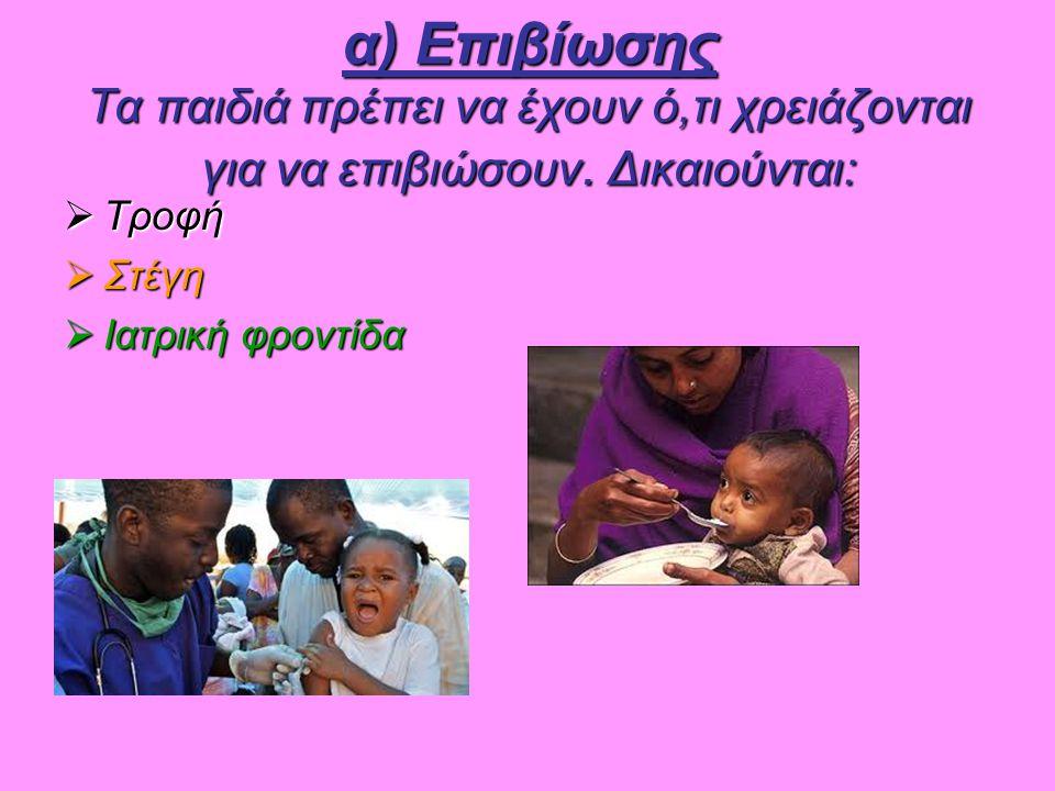 α) Επιβίωσης Τα παιδιά πρέπει να έχουν ό,τι χρειάζονται για να επιβιώσουν. Δικαιούνται:  Τροφή  Στέγη  Ιατρική φροντίδα
