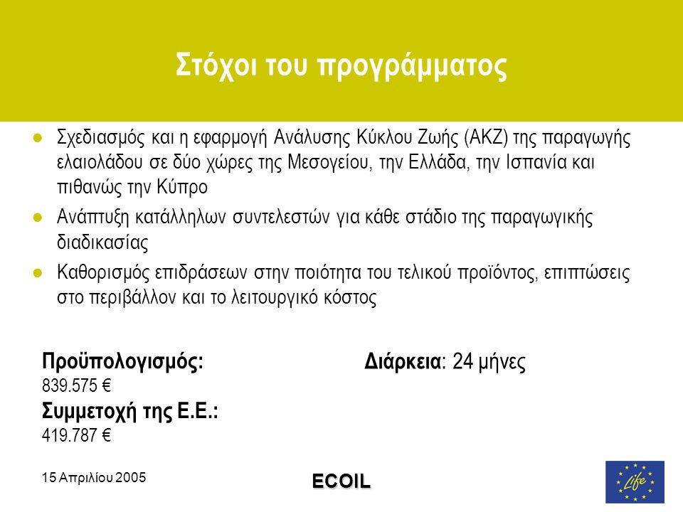 15 Απριλίου 2005 ECOIL Στόχοι του προγράμματος ●Σχεδιασμός και η εφαρμογή Ανάλυσης Κύκλου Ζωής (ΑΚΖ) της παραγωγής ελαιολάδου σε δύο χώρες της Μεσογείου, την Ελλάδα, την Ισπανία και πιθανώς την Κύπρο ●Ανάπτυξη κατάλληλων συντελεστών για κάθε στάδιο της παραγωγικής διαδικασίας ●Καθορισμός επιδράσεων στην ποιότητα του τελικού προϊόντος, επιπτώσεις στο περιβάλλον και το λειτουργικό κόστος Διάρκεια : 24 μήνες Προϋπολογισμός: 839.575 € Συμμετοχή της Ε.Ε.: 419.787 €