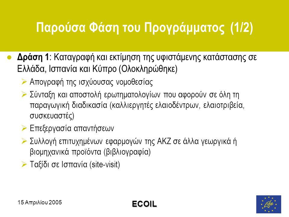 15 Απριλίου 2005 ECOIL Παρούσα Φάση του Προγράμματος (1/2) ● Δράση 1 : Καταγραφή και εκτίμηση της υφιστάμενης κατάστασης σε Ελλάδα, Ισπανία και Κύπρο (Ολοκληρώθηκε)  Απογραφή της ισχύουσας νομοθεσίας  Σύνταξη και αποστολή ερωτηματολογίων που αφορούν σε όλη τη παραγωγική διαδικασία (καλλιεργητές ελαιοδέντρων, ελαιοτριβεία, συσκευαστές)  Επεξεργασία απαντήσεων  Συλλογή επιτυχημένων εφαρμογών της ΑΚΖ σε άλλα γεωργικά ή βιομηχανικά προϊόντα (βιβλιογραφία)  Ταξίδι σε Ισπανία (site-visit)