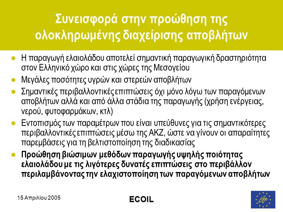 15 Απριλίου 2005 ECOIL Συνεισφορά στην προώθηση της ολοκληρωμένης διαχείρισης αποβλήτων ●Η παραγωγή ελαιολάδου αποτελεί σημαντική παραγωγική δραστηριότητα στον Ελληνικό χώρο και στις χώρες της Μεσογείου ●Μεγάλες ποσότητες υγρών και στερεών αποβλήτων ●Σημαντικές περιβαλλοντικές επιπτώσεις όχι μόνο λόγω των παραγόμενων αποβλήτων αλλά και από άλλα στάδια της παραγωγής (χρήση ενέργειας, νερού, φυτοφαρμάκων, κτλ) ●Εντοπισμός των παραμέτρων που είναι υπεύθυνες για τις σημαντικότερες περιβαλλοντικές επιπτώσεις μέσω της ΑΚΖ, ώστε να γίνουν οι απαραίτητες παρεμβάσεις για τη βελτιστοποίηση της διαδικασίας ● Προώθηση βιώσιμων μεθόδων παραγωγής υψηλής ποιότητας ελαιολάδου με τις λιγότερες δυνατές επιπτώσεις στο περιβάλλον περιλαμβάνοντας την ελαχιστοποίηση των παραγόμενων αποβλήτων