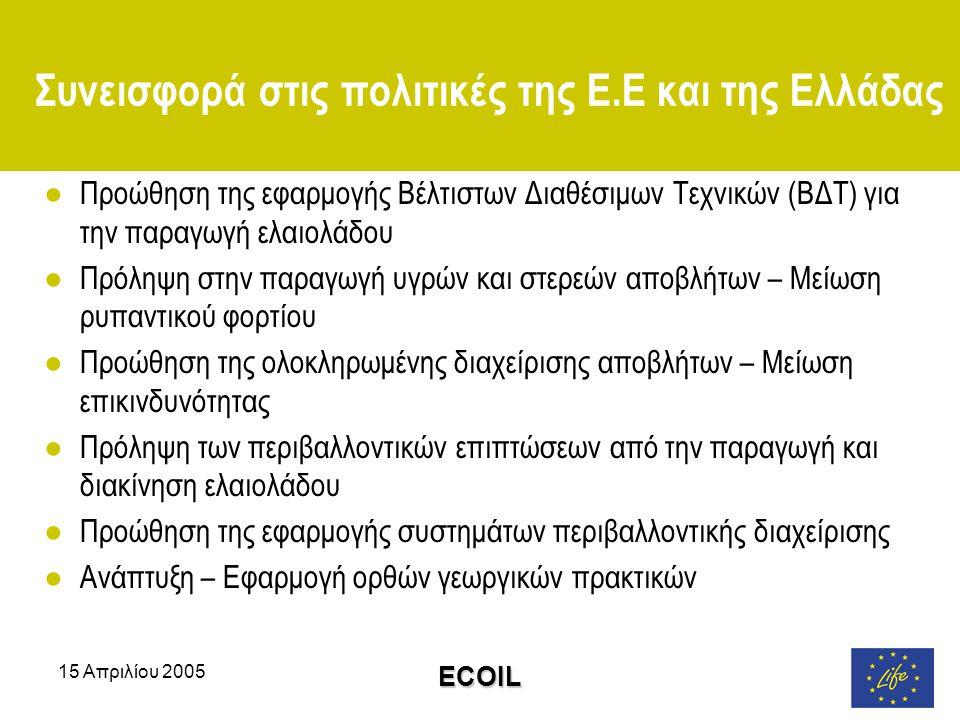 15 Απριλίου 2005 ECOIL Συνεισφορά στις πολιτικές της Ε.Ε και της Ελλάδας ●Προώθηση της εφαρμογής Βέλτιστων Διαθέσιμων Τεχνικών (ΒΔΤ) για την παραγωγή ελαιολάδου ●Πρόληψη στην παραγωγή υγρών και στερεών αποβλήτων – Μείωση ρυπαντικού φορτίου ●Προώθηση της ολοκληρωμένης διαχείρισης αποβλήτων – Μείωση επικινδυνότητας ●Πρόληψη των περιβαλλοντικών επιπτώσεων από την παραγωγή και διακίνηση ελαιολάδου ●Προώθηση της εφαρμογής συστημάτων περιβαλλοντικής διαχείρισης ●Ανάπτυξη – Εφαρμογή ορθών γεωργικών πρακτικών