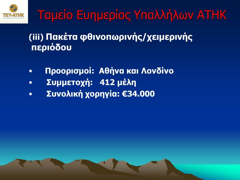 Ταμείο Ευημερίας Υπαλλήλων ΑΤΗΚ (iii) Πακέτα φθινοπωρινής/χειμερινής περιόδου • Προορισμοί: Αθήνα και Λονδίνο • Συμμετοχή: 412 μέλη • Συνολική χορηγία