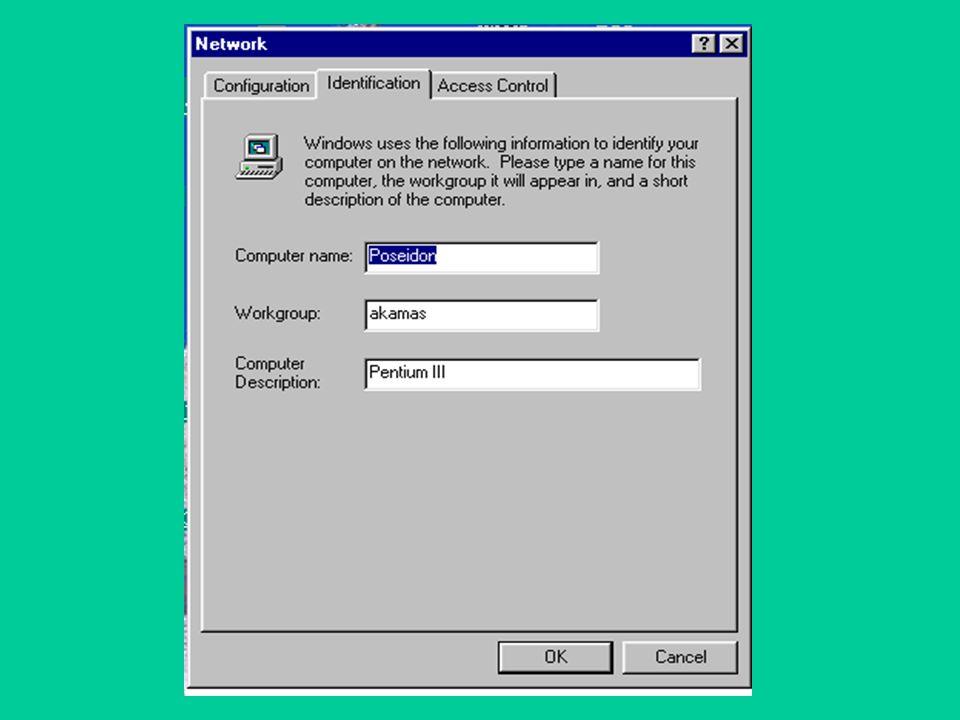 Ρυθμίσεις των Win95/98 για χρήση δικτύου.