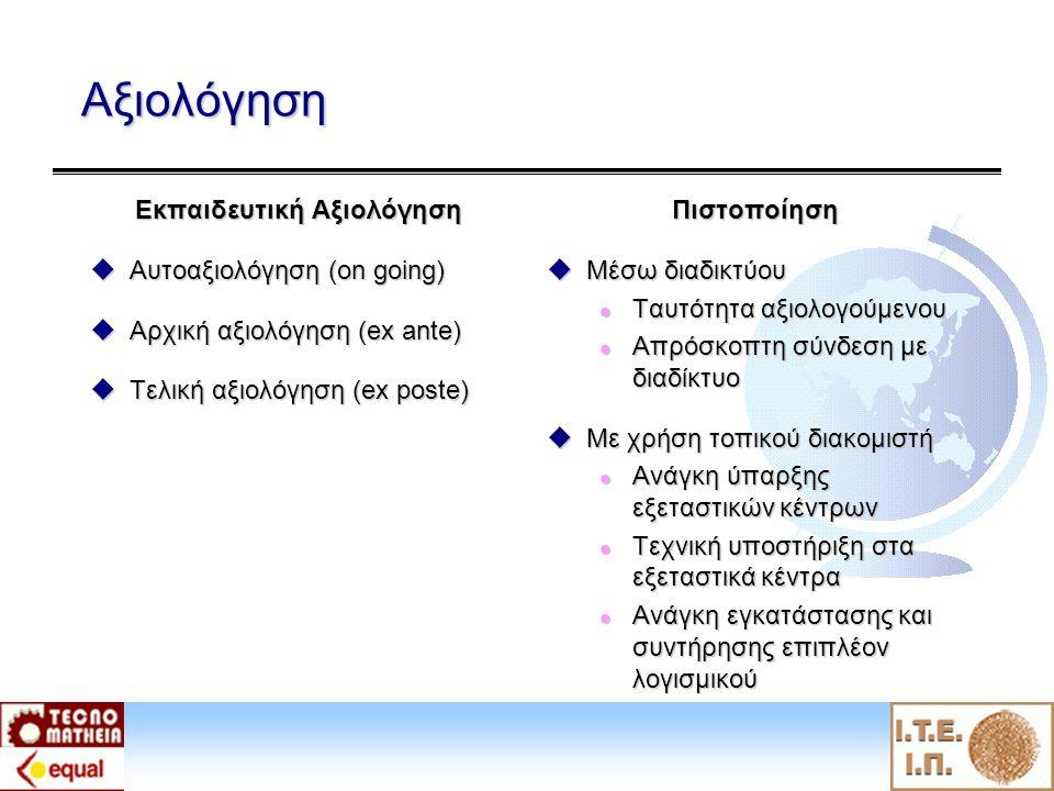 Αξιολόγηση Εκπαιδευτική Αξιολόγηση  Αυτοαξιολόγηση (on going)  Αρχική αξιολόγηση (ex ante)  Τελική αξιολόγηση (ex poste) Πιστοποίηση  Μέσω διαδικτύου l Ταυτότητα αξιολογούμενου l Απρόσκοπτη σύνδεση με διαδίκτυο  Με χρήση τοπικού διακομιστή l Ανάγκη ύπαρξης εξεταστικών κέντρων l Τεχνική υποστήριξη στα εξεταστικά κέντρα l Ανάγκη εγκατάστασης και συντήρησης επιπλέον λογισμικού