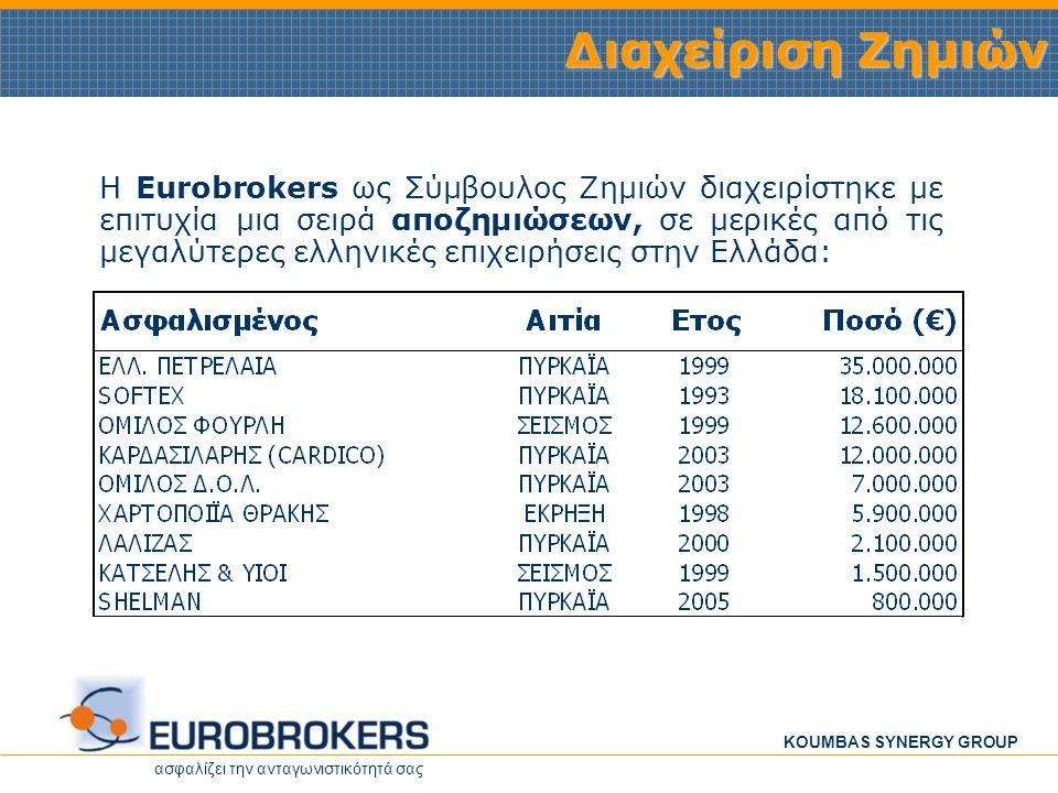 ασφαλίζει την ανταγωνιστικότητά σας KOUMBAS SYNERGY GROUP •Βασική δραστηριότητα της εταιρίας, είναι η παροχή ολοκληρωμένων ασφαλιστικών υπηρεσιών σε επιχειρήσεις ιδιωτικού ή δημοσίου ενδιαφέροντος, που δραστηριοποιούνται στη βιομηχανία, στο εμπόριο ή στις υπηρεσίες, τόσο στην Ελλάδα όσο και στο εξωτερικό.